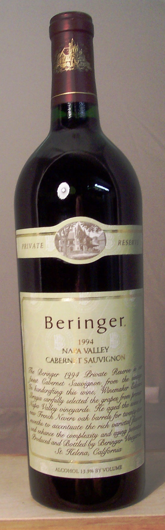 Beringer Vineyards Cabernet Sauvignon Private Reserve Napa Valley 1994