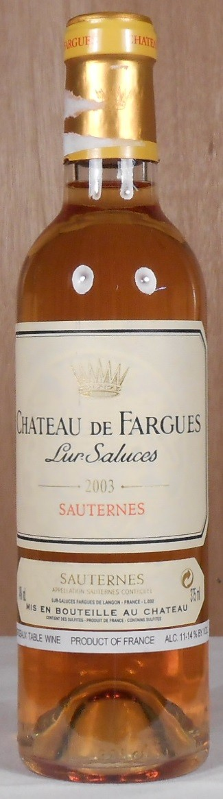 Chateau de Fargues Sauternes 2003 HALF BOTTLE