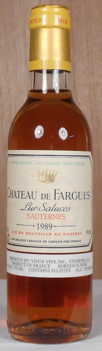 Chateau de Fargues Sauternes 1989 HALF BOTTLE