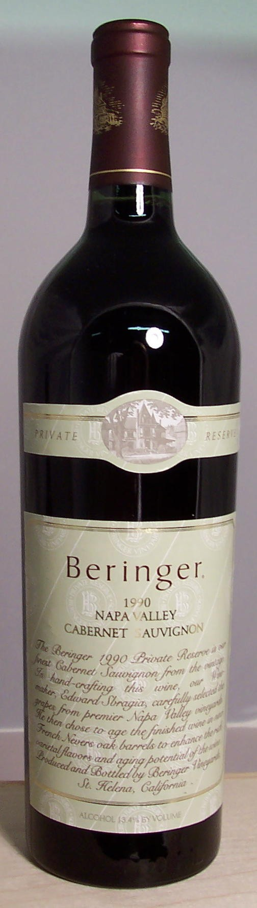 Beringer Vineyards Cabernet Sauvignon Private Reserve Napa Valley 1990