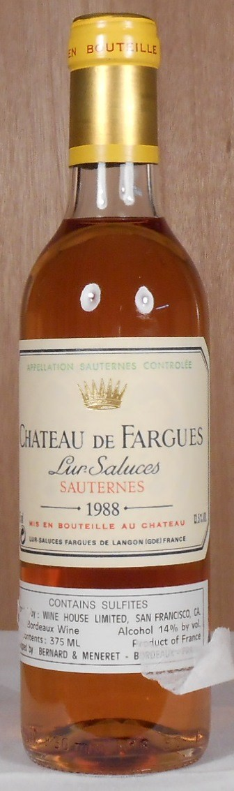 Chateau de Fargues Sauternes 1988 HALF BOTTLE